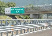 Road Sign At End Of Motorway  And The Text Fine Autostrada That poster