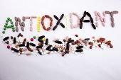Hand Writing Text Caption Inspiration Medical Care Concept Written With Pills Drugs Capsule Word Ant poster