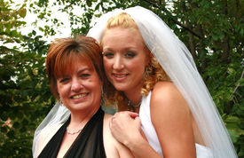 picture of matron  - Beautiful bride with her matron of honor - JPG