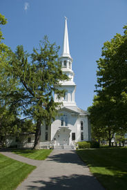 foto of cape-cod  - Old white new england church located on Cape Cod - JPG