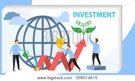 poster of Investing Vector Illustration. Growing Money Tree. Deposit Profit And Wealth Growing Business. Teamw
