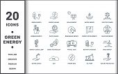 Power And Energy Icons Thin Line Set Collection. Includes Creative Elements Such As Green Energy, En poster