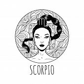 Scorpio Zodiac Sign Artwork, Adult Coloring Book Page, Beautiful Horoscope Symbol Girl, Vector Illus poster