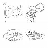 Vector Illustration Of Traditions And National Symbol. Set Of Traditions And Sightseeing Vector Icon poster