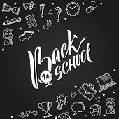 Back To School Vector Background With Doodle Education Icons. School Education, Doodle Sketch Back T poster