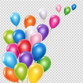 Realistic Balloons Vector Background Template. Flying Colorful Balloons Isolated On Transparent Back poster