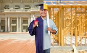 Split Screen Male Hispanic Graduate In Cap and Gown to Engineer in Hard Hat Concept. poster