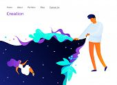 Landing Page Design With Painting Man, Website Template, Creation In Internet, Distance E-learning,  poster