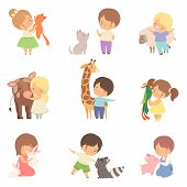 Cute Little Children Playing With Playing And Hugging Animals, Kid Interacting With Animal In Contac poster