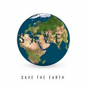 Greeting Card With Earth Day.  Illustration Of Our Planet With Words, Save The Earth. Earth Day Is C poster