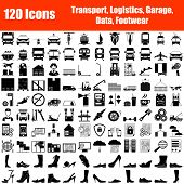 Set Of 120 Icons. Transport, Logistic, Garage, Data, Footwear Themes. Color Flat Design. Vector Illu poster