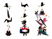 Business Human Pyramid. Team Work Success Concept With Miniature People, Successful Corporate Crowd  poster