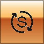 Black Return Of Investment Icon Isolated On Gold Background. Money Convert Icon. Refund Sign. Dollar poster