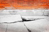 Broken sidewalk concrete crack dangerous cracked poster