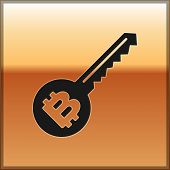 Black Cryptocurrency Key Icon Isolated On Gold Background. Concept Of Cyber Security Or Private Key, poster
