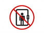 No Or Stop. Elevator Icon. Transportation Lift Sign. Prohibited Ban Stop Symbol. No Elevator Icon. V poster
