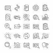 Search Line Icons. Car Rental, Photo Indexation, Artificial Intelligence Icons. Airplane Flights, We poster