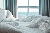 Comfortable Bedroom, Messy Bedding Sheets And Duvet With Wrinkle Messy In The Bedroom poster