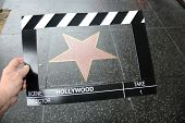 Movie Scene Clicker Board with Blank Hollywood Sign. World Famous Hollywood Walk of Fame Blank Star  poster