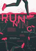 Vector Typographic Running Poster Template, With Runners, Grunge Textures, And Place For Your Texts. poster
