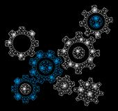 Glowing Mesh Gears Mechanism With Glow Effect. Abstract Illuminated Model Of Gears Mechanism Icon. S poster