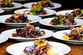 pic of catering  - plated salads during a catered event or wedding