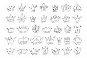 Hand Drawn Crowns. Big Set Of Simple Graffiti Sketch Queen Or King Crowns. Royal Imperial Coronation poster