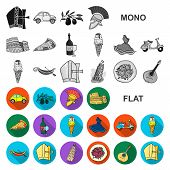 Country Italy Flat Icons In Set Collection For Design. Italy And Landmark Bitmap Symbol Stock Web Il poster