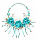 Necklace Of Turquoise Roses, White Gold Leafs, Turquoise And Gold Beads On A White Background. Tiffa poster