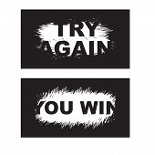 Letters Scratch And Win. Scratch Marks. Scratch Card Game And Win. Lottery Scratch And Win Game Card poster