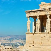 The Porch of The Caryatids on The Acropolis in Athens, Greece          poster