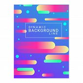 Abstract Blue Background. Yellow, Pink And Green Dynamic Shapes, Cyan Dots, Text In Frame. Minimal G poster