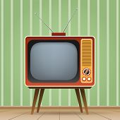 Old Entertainment Television. Old Tv Vector Illustration, Color Vintage Television Entertainment Med poster