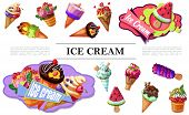 Cartoon Ice Cream Composition With Colorful Icecreams Of Different Shapes With Various Fruits And Be poster