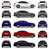 Realistic Car. Sedan Cars Set. Front View; Side View; Back View. poster