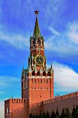 Spasskaya Tower Of Moscow Kremlin At Red Square In Russia. Each New Year In Russia Begins After The  poster