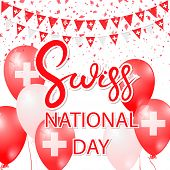 Happy Swiss Day Design Inflated Balloons, Flying Confetti And Text. Decorative Realistic Design Elem poster
