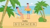 Romantic Seaside Vacation Vector Banner Template. Happy Couple On Honeymoon Trip Drinking Cocktails  poster