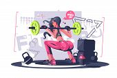 Cute Fitness Girl Vector Illustration. Pretty Young poster