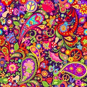 Hippie vivid colorful wallpaper with abstract flowers, hippie peace symbol, peace and love words, mu poster