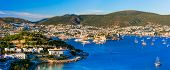 Bodrum, Turkey . hilltop view of marina and old town with fortress poster