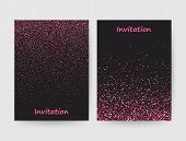 Colorful Postcard . Invitation. Line Design, Pink Glowing Confetti, Illustration On Black Background poster