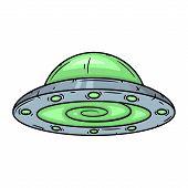 Ufo. Cartoon Alien Spaceship. Cosmic Ship In Form Saucer. poster