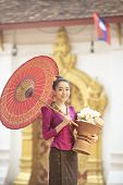 Lao Girl Dressed In Traditional Lao Clothes Beautiful Laos Girl In Laos Costume,asian Woman Wearing  poster