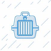 Blue Pet Carry Case Line Icon Isolated On White Background. Carrier For Animals, Dog And Cat. Contai poster