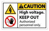 Caution High Voltage Keep Out Sign Isolate On White Background,vector Illustration Eps.10 poster