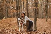 Best Friends. Unconditional Love. Girl Enjoy Walk With Husky Dog. Siberian Husky Favorite Pet. Anima poster