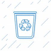 Blue Recycle Bin With Recycle Symbol Line Icon Isolated On White Background. Trash Can Icon. Garbage poster
