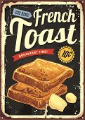 French Toast Restaurant Sign . Retro Vector Poster For Cafe Bar Or Diner. Breakfast Graphic On Old M poster