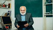 Teacher Preparing For University Exams. Teachers Day. Old Bearded Mature Teacher. Learning And Educa poster